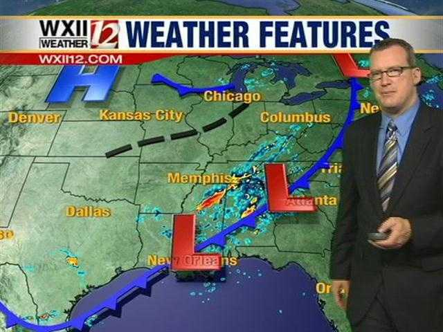 Storms will move in from Alabama, Mississippi and Tennessee.