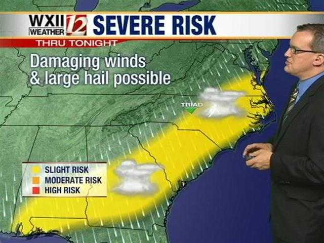 Meteorologist Brian Slocum says there is a chance of severe weather today in the WXII viewing area.