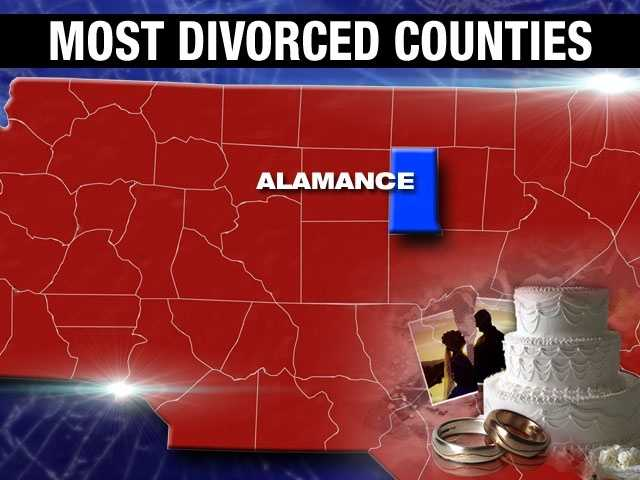 Alamance County has a divorce percentage of 10.7%.