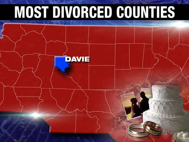 The lowest divorce percentage on this list belongs to Davie County, with 8.9%.