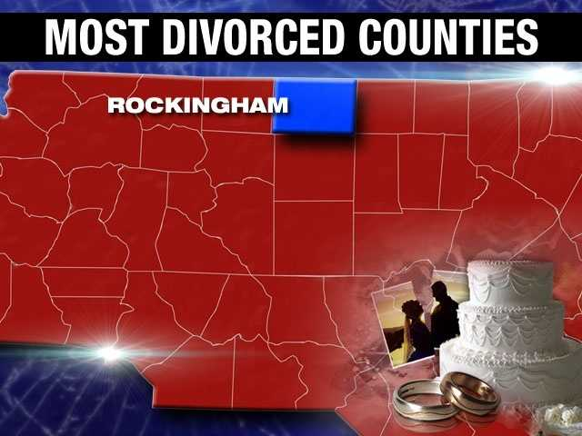 Rockingham County's divorce percentage is the highest on our list. 11.8% of adults are divorced in Rockingham County.