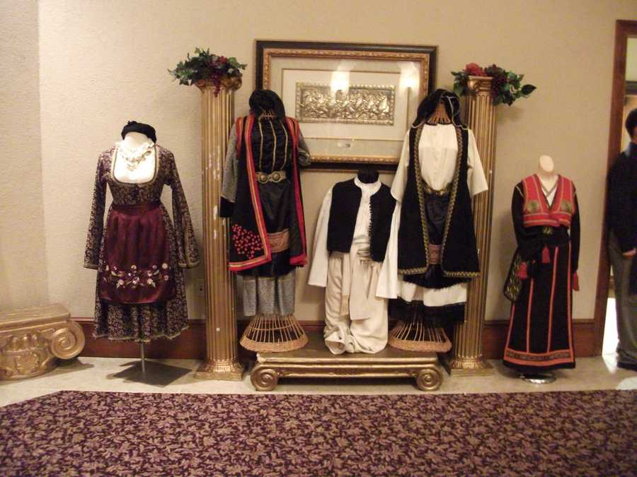 Greek dress is shown in these different outfits for display.