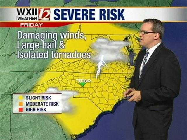 Wind, hail and isolated tornadoes can't be ruled out of today's forecast, according to meteorologist Brian Slocum.
