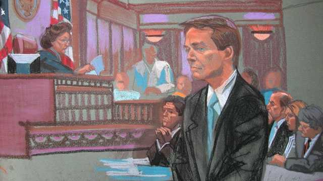 Sketch of John Edwards as verdict is read (Christine Cornell)