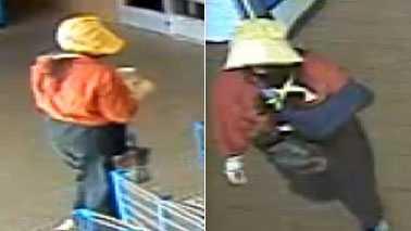 Bonnet-wearing suspect in Walmart robbery (Reidsville Police)