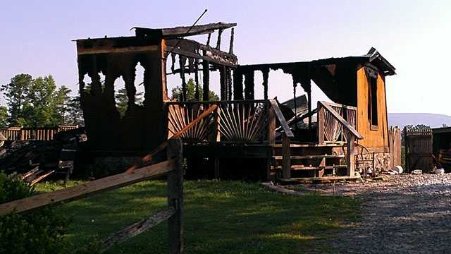 This mobile home was destroyed in a fire Wednesday morning. (Willie Bottomley/WXII)