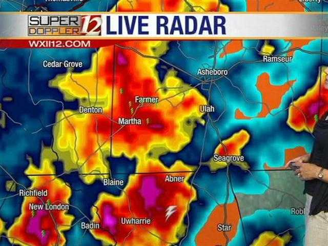 Lanie showed this live radar image just after 5 p.m.