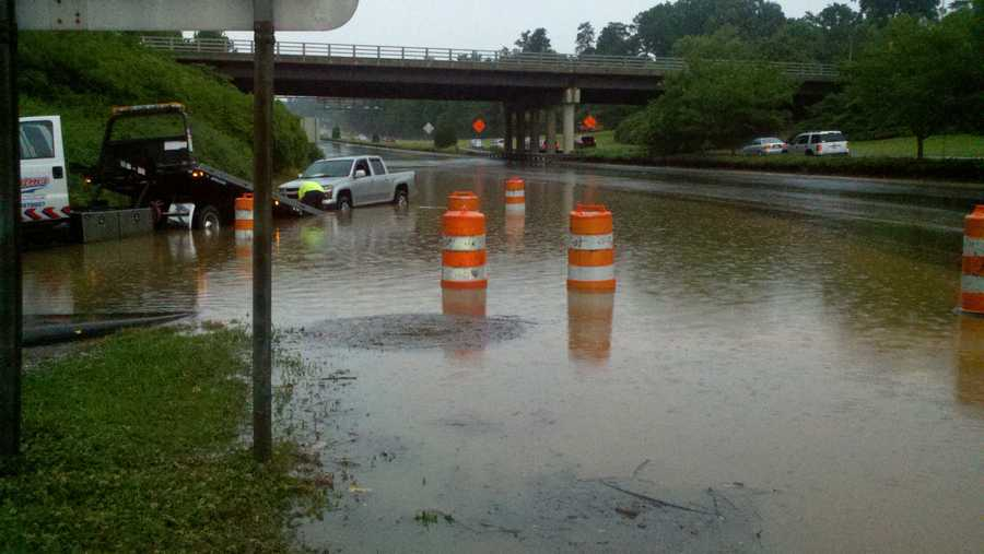 Flooding at Holden Road and Bryan Boulevard in Greensboro (thanks, WXII's Rich Cisney)