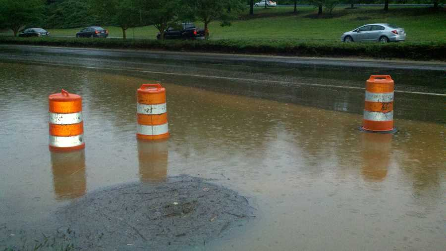 Flooding at Holden Road and Bryan Boulevard in Greensboro (WXII's Rich Cisney)