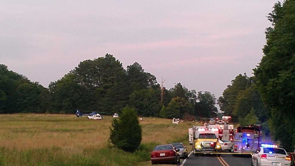Single car wreck on Scalesville Road in Summerfield (photo by WXII's Stephanie Berzinski)