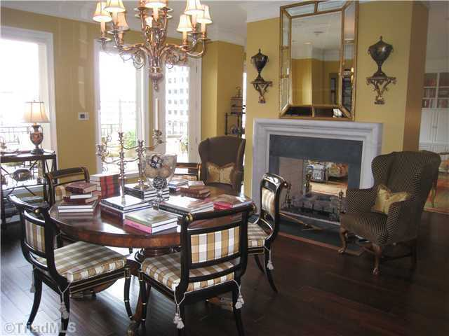 Dining Room with a double sided fireplace