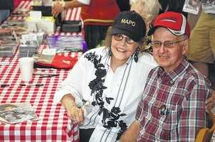 7. Also born in Mount Airy, Grammy Award winner Donna Fargo. In this photo, she poses with Cliff Shockley during an autograph signing session. (Photo from Mt. Airy News website)