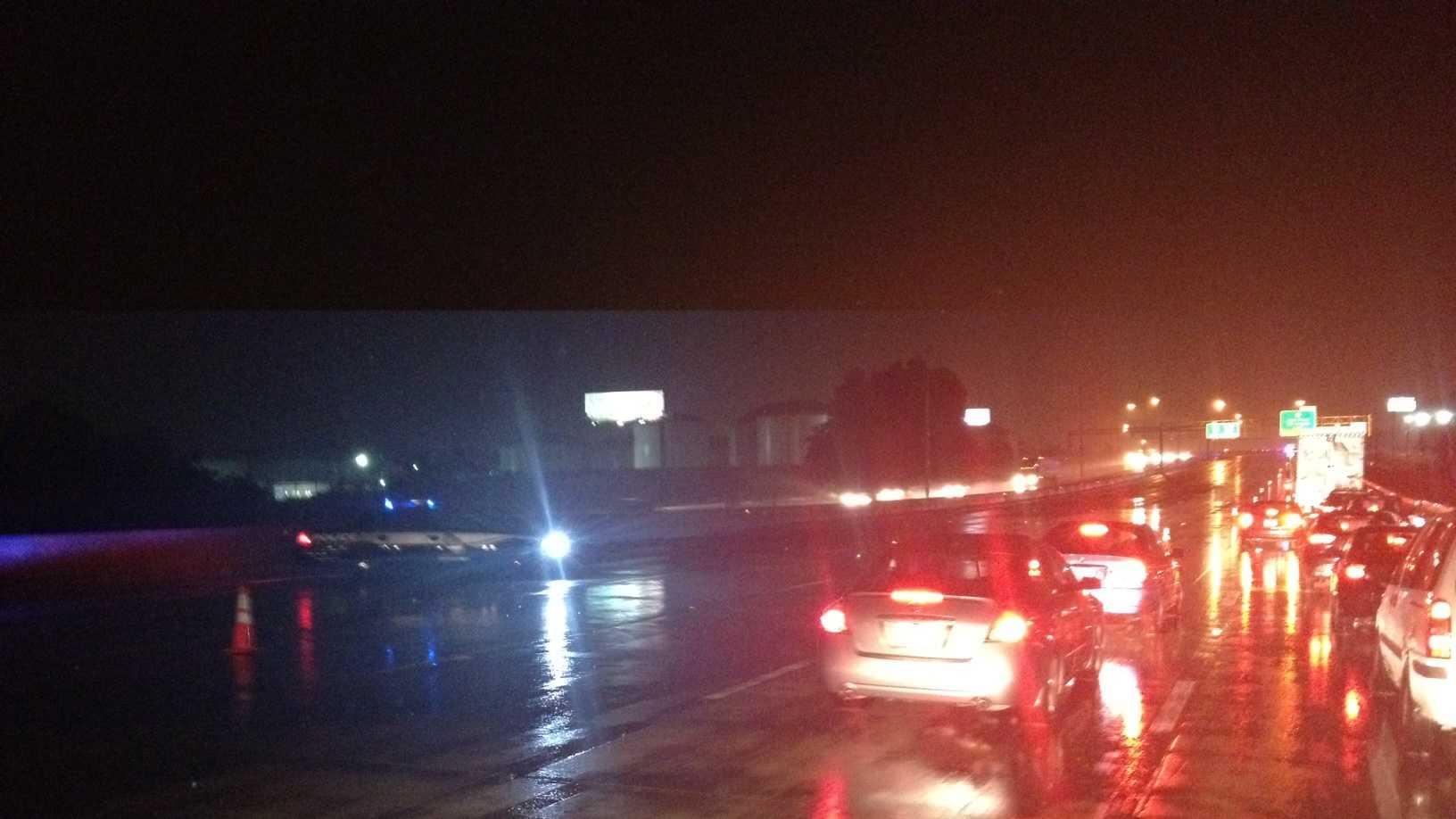 I-40 at exit 211 on Monday night (photo by WXII's Craig Marimpietri)
