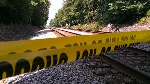 Site of train vs. pedestrian in Thomasville (Willie Bottomley/WXII)