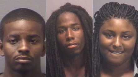 L-R: Jarvon Everett, Darion Graham and Tashawna Robinson (New Hanover Co. Sheriff's Office)