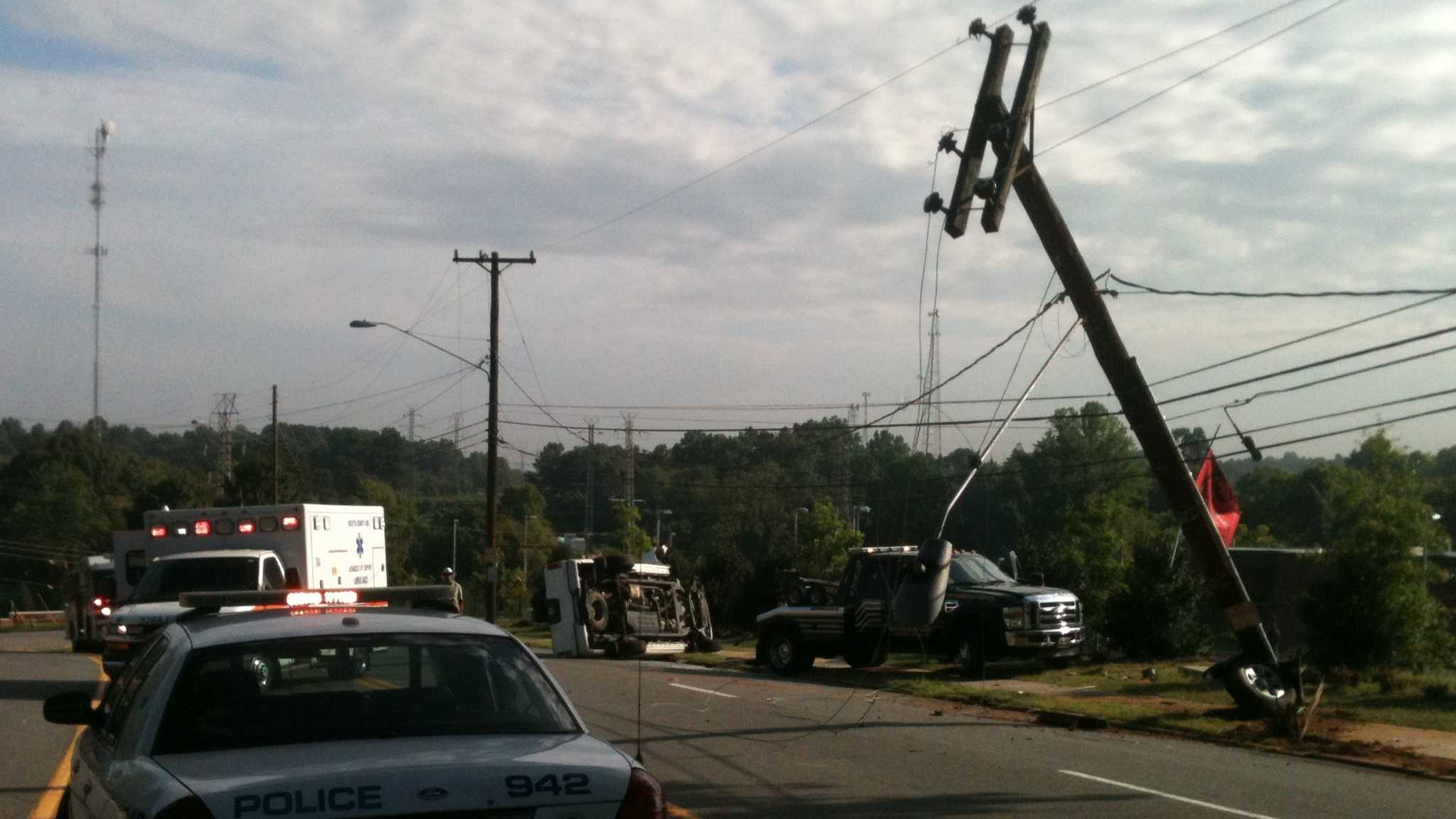 The crash occurred Monday morning in Winston-Salem. (Photo by WXII's Phil Kivett)