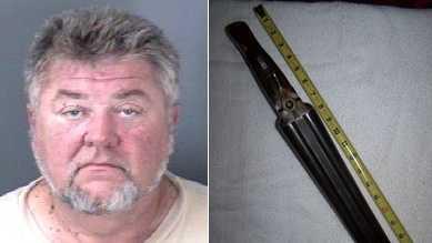 Left: John Jacob Morton. Right: Double-barrel shotgun seized as evidence (Yadkin County Sheriff's Office)
