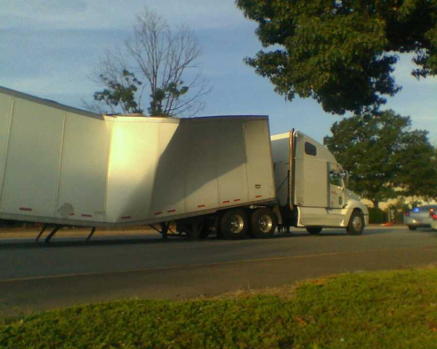 A disabled tractor-trailer forced part of westbound Deacon Boulevard to close Friday morning. Click through for WXII images.