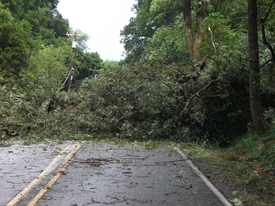 Large tree took out power lines on Valley Road at a house on the corner of Tangle Lane in Winston-Salem.