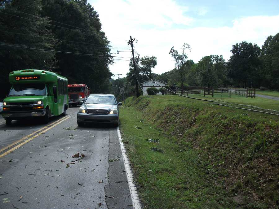 Lines down everywhere on Valley Road and Reynolda. Several trees fell and power outages.