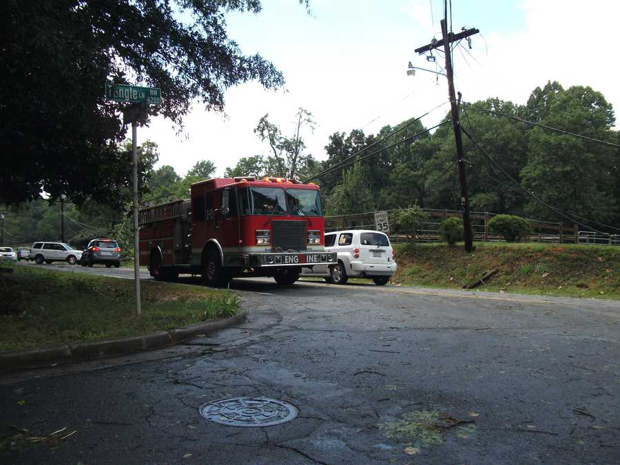 Firemen came to help out with down power lines on Tangle Lane and Valley Road because of the severe weather on Friday. Cars had to turn around because of trees across the road.