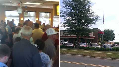 Chick-Fil-A restaurants in Wilkesboro, left, and Winston-Salem, right (Courtesy Molly [uLocal viewer] and Stephanie Berzinski)