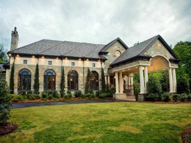 This past season's Bachelorette show was filmed at this $6 million Charlotte Estate. The home features over 12,000 square feet of living space, 6 bedrooms, 10 bathrooms, a porte cochere, elevator, veranda and a ball room. This 5 acre gated estate is priced at $5,899,900.