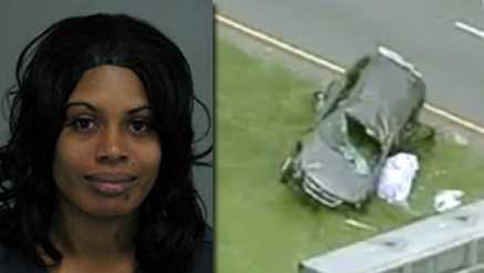 Errika Dominique Shelton and wrecked SUV (Courtesy WYFF)