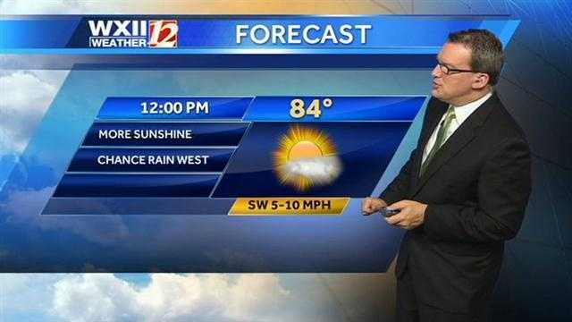 There could be Tuesday afternoon storms in the viewing area. Let's start with the 12 p.m. forecast.