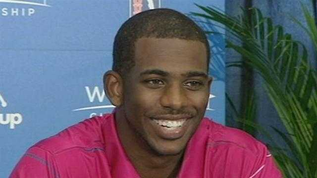 Just returning from London with his 2nd gold medal, Chris Paul talked with the media at the Wyndham Championship about the experience and is growing family.