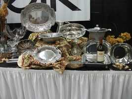 Belk sterling and real silver and glass servers are great presents for the couple...
