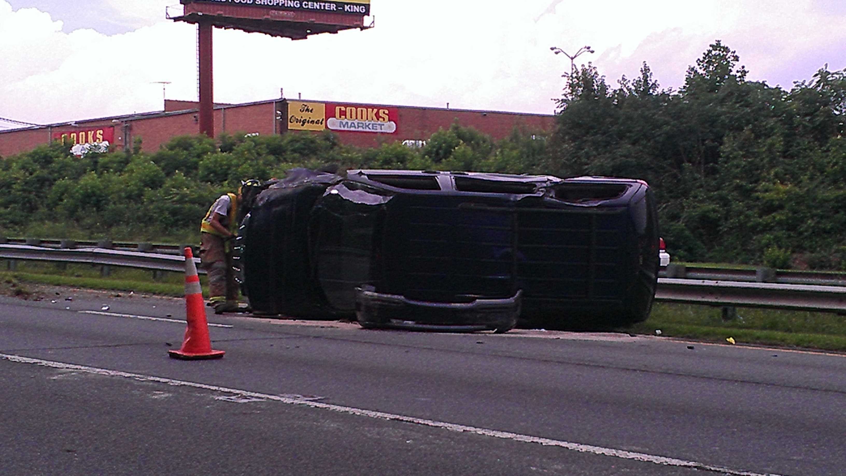 The accident occurred about 4:30 p.m. Monday. (Photo by WXII's Doug Miller)