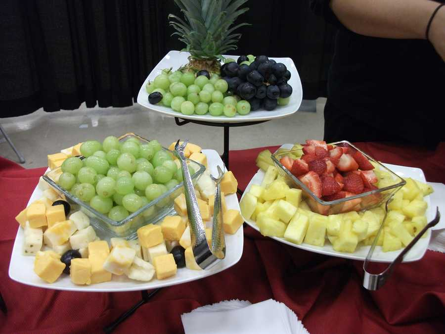 Several plates can be served with fruit and cheese for some light entertaining for your wedding shower, bachelorette parties,cocktail hour after or before the wedding as well as the reception...(Sagebrush Steakhouse)