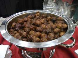 Meatballs in sauce are only one of the many main dishes on the serving bar...(Sagebrush Steakhouse)