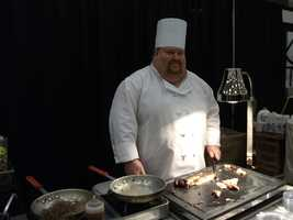 Chef serves up fine meats while catering a reception...(Holiday Inn, Winston-Salem)