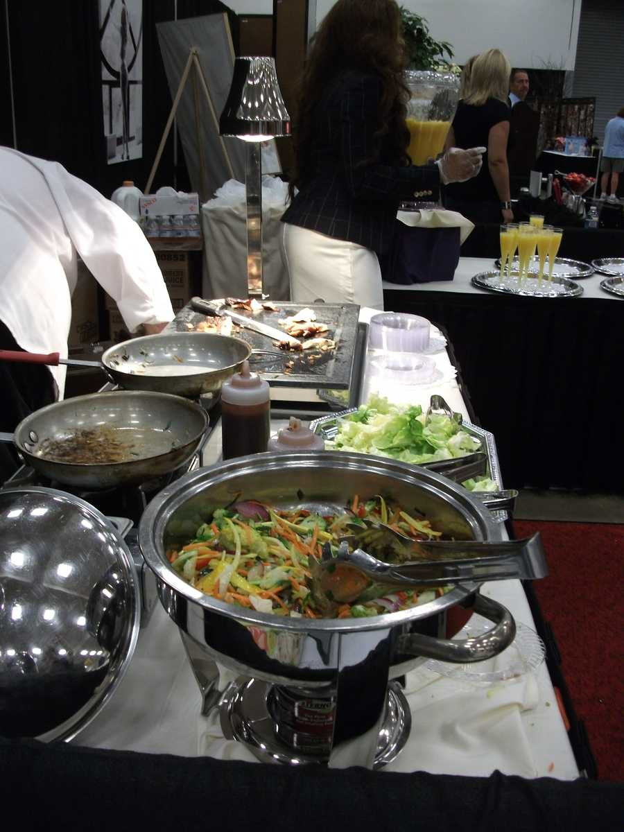 A buffet style is one way of serving food for the reception. Talking to the caterers to fine out the best way to save on the budget is up to each couple...(Holiday Inn, Winston-Salem)