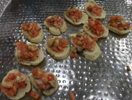 Bruschetta was served up a little different on pepper based bread...(Salem Catering)