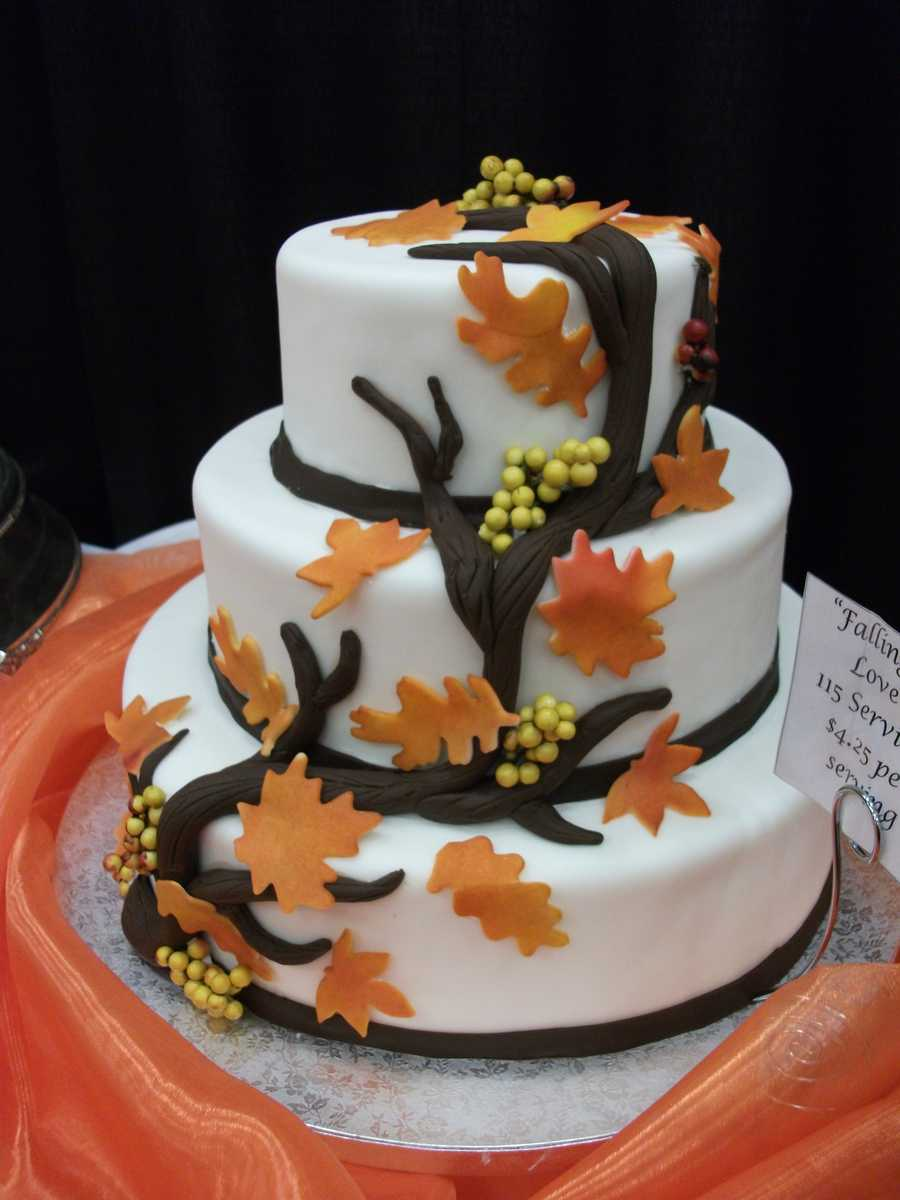 Fall, Halloween or Thanksgiving style wedding cakes maybe your fortee...(Mrs. Pumpkins)