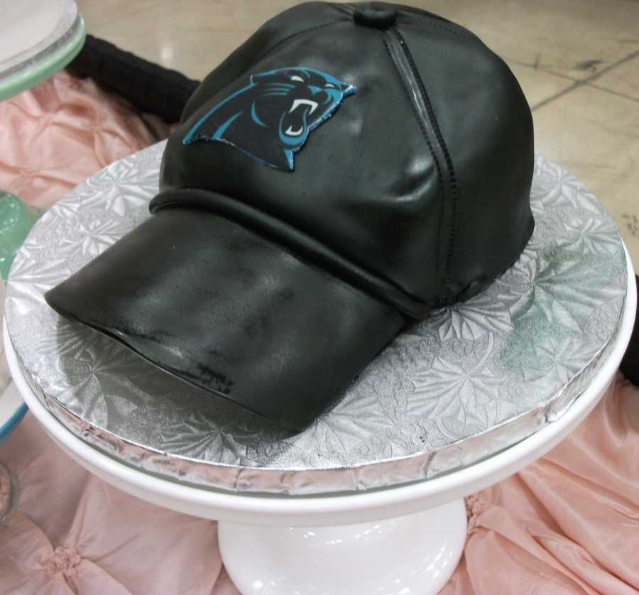 Another view of the grooms Carolina Panthers Football cap cake...(Cake & All Things Yummy)