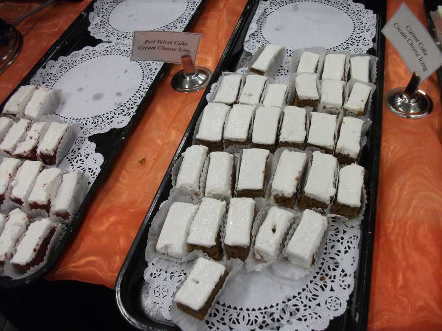 Carrot cake and Red Velvet with cream cheese icing is another two samples of cake given away from Mrs. Pumpkins at The Carolina Weddings Show...