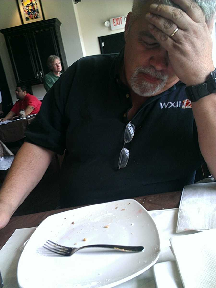 WXII's photographer was wiped out after his feast.