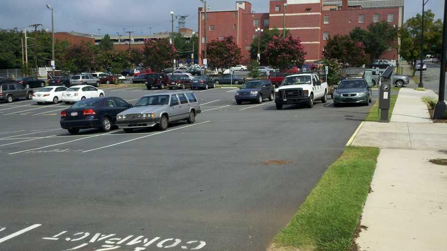 Surface parking lot across Spruce Street from Milton Rhodes Arts Center (Rich Cisney/WXII)