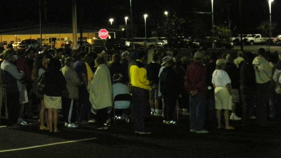 People line up outside the Chick-fil-A in Mt. Airy.