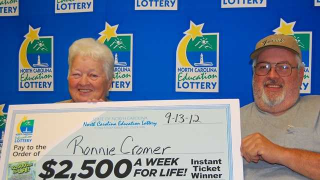 Ronnie Cromer with his mom (NC Education Lottery)