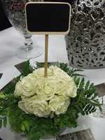 This neat ideal could be used for the tables numbers or names on the chalk board at the reception. It could also be on each table showing what desserts or food is at that table. (Dahlias Flowers)