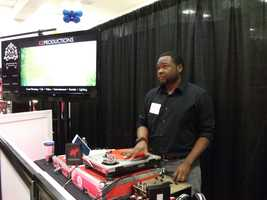 K2 Productions working the table and playing some of the music they'll use at wedding receptions...