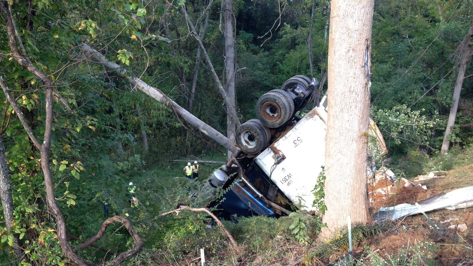 This tractor-trailer went down a steep embankment off US 52 early Friday morning. (Craig Marimpietri/WXII)