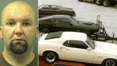 Daryl Lyerly and recovered Mustang (Rowan County Sheriff's Office)