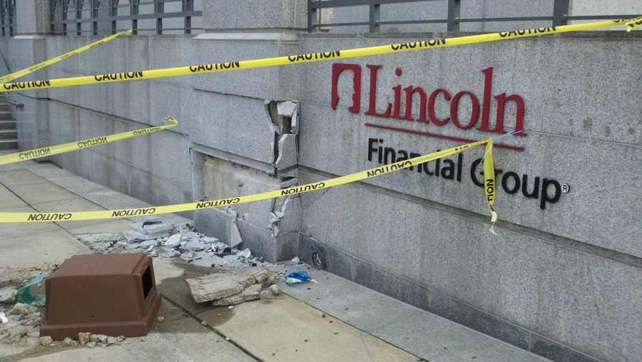 The Lincoln Financial building in downtown Greensboro was damaged in a Tuesday night crash.