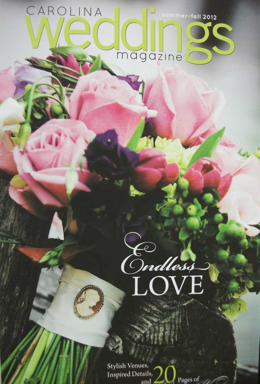 Carolina Weddings Magazine was available to give out magazines with wedding planning tips.